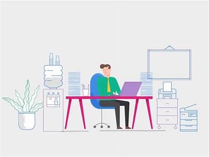 Office Working Animation Digital Dribbble Illustration Vector