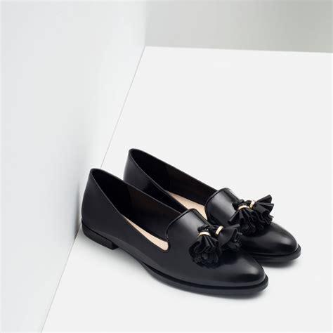 zara flat shoes  tassels  black lyst