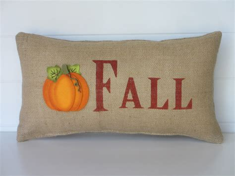 Burlap Fall Pillow Pumpkin Pillow Fall Decorative Throw