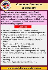 Compound Sentences And Examples