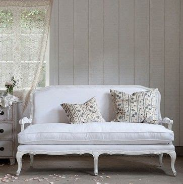 Shabby Chic Settee Furniture by Lila Settee White Linen Traditional Sofas Shabby