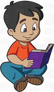 A Boy Reading A Novel Cartoon Clipart - Vector Toons