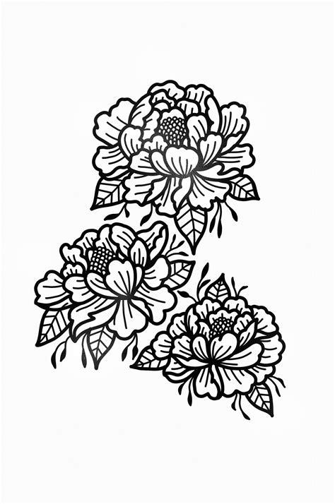 STANLEY DUKE tattoo design flowers art tattooist graphic artist peonies blackwork black