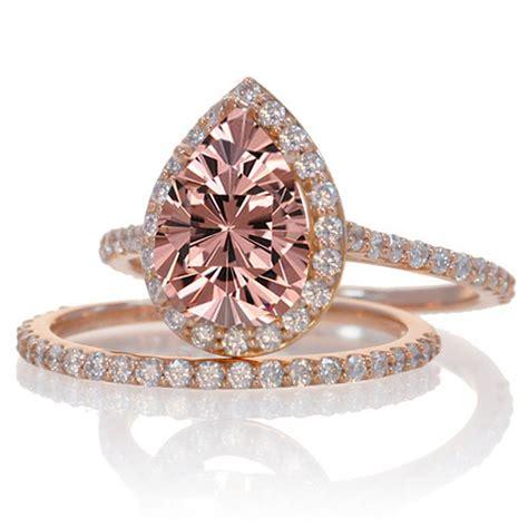 2 carat morganite and diamond halo bridal ring 10k rose gold jeenjewels