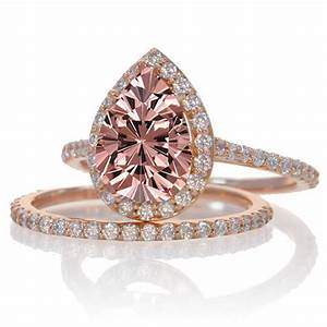 2 carat morganite and diamond halo bridal ring set on 10k With rose gold diamond wedding ring set