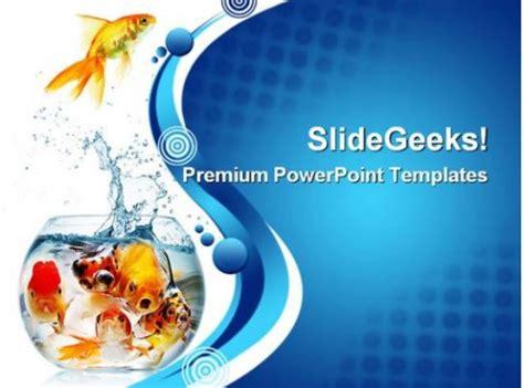 gold fish animals powerpoint templates  powerpoint