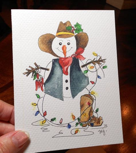 Wish a merry christmas to loved ones this holiday season with western christmas cards from zazzle! Snowman Christmas Card Cowboy Boots Western by MarilynKJonas | Watercolor christmas cards ...