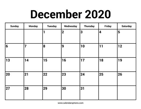 december  calendars calendar options