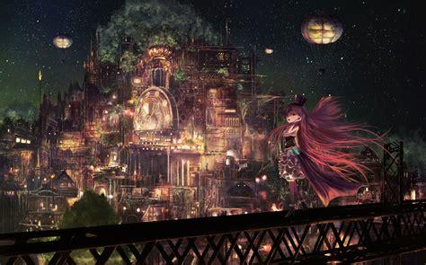 anime city sky light night original stars girl long hair