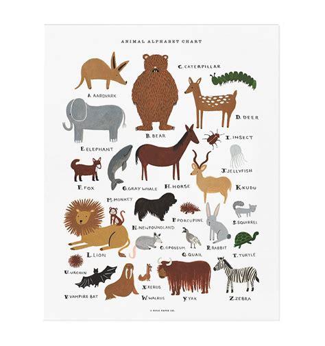 animal alphabet chart art print  rifle paper