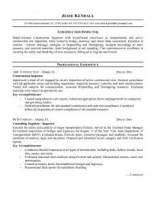 home builder resume exles exle construction inspector resume free sle