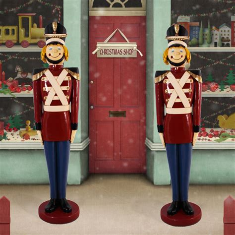 ft fiberglass christmas tin toy soldier pair