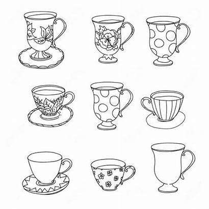 Coloring Tea Cup Ice Cream Cupcake Printable