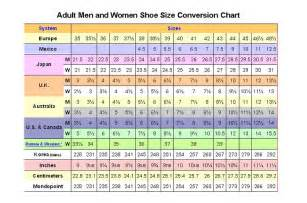wedding center shoes size chart