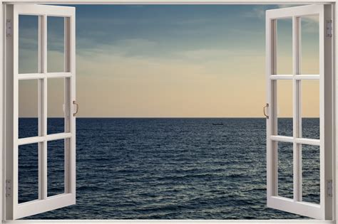 3d Window Ocean View Blue Sea Home Decor Wall Sticker: Huge 3D Window View Exotic Ocean Wall Sticker Mural Film