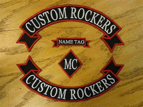 Custom Embroidered Patch Top & Bottom Ribbon Rockers Name