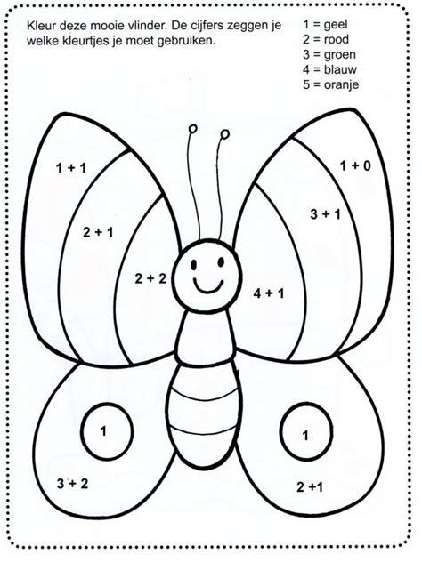 3 testen met redactiesommen of verhaaltjessommen met uitwerkingen, pas op! Reken kleurplaat | Vlinders, Kleurplaten, Kleuren met nummers