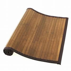 tapis bambou naturel fonce achat vente tapis de bain With tapis de bain bambou