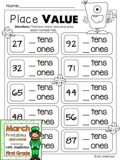 march printables  grade literacy  math st