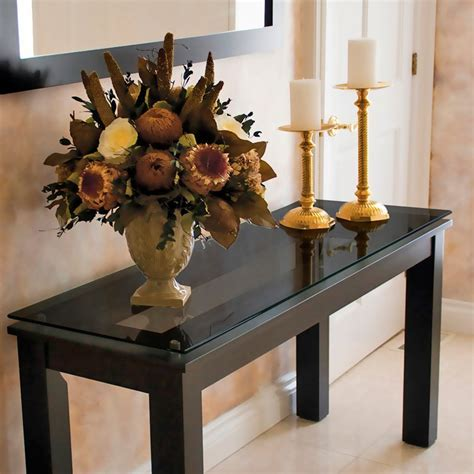 Long Wood Rectangle Console Table With Black Glass Top And