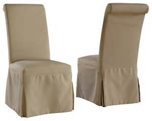 regent linen parsons chair with beige and gray slipcovers set of 2 chairs transitional