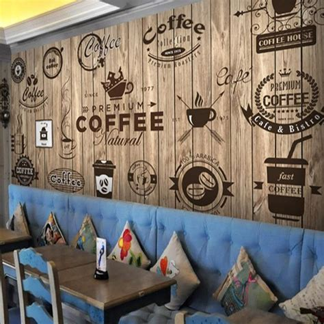 See more ideas about coffee art, coffee love, coffee cafe. Retro Wood Grain Cafe Wallpaper Mural (㎡) in 2020   Cafe design, Coffee shop design, Cafe interior