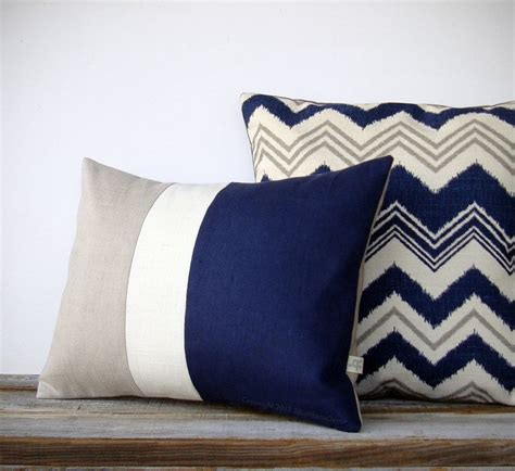 Navy Decorative Pillows by Decorative Pillow In Navy Blue Chevron And Gray By