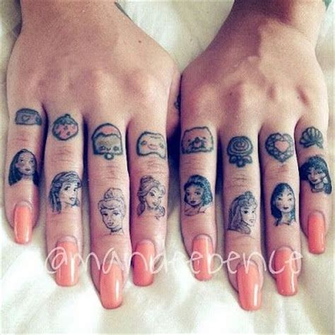 Disney Princess Finger Tattoos Uhhh Want These Love