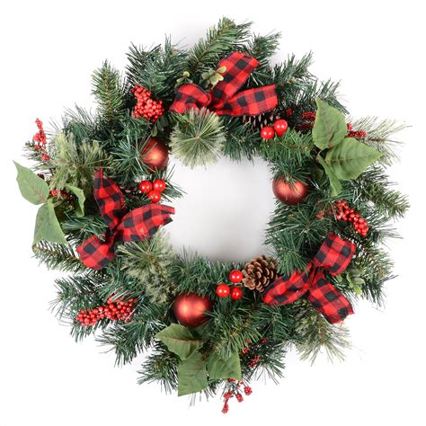 24 quot 61cm green christmas wreath with red berries baubles