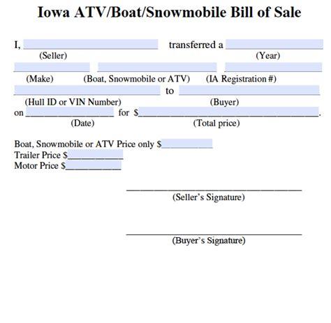 Excel Boats Iowa by Atv Bill Of Sale Pdf Olala Propx Co