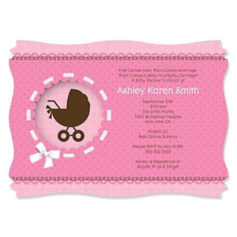girl baby carriage personalized baby shower invitations