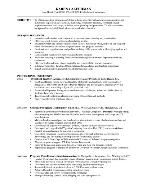 Early Childhood Education Resume Exles by Early Childhood Education Resume Haadyaooverbayresort