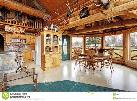 beautiful dining room  log cabin house stock image