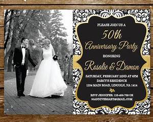 50th anniversary invitation etsy With black and white wedding anniversary invitations