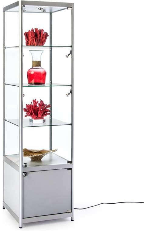 lighted silver tower display case  glass shelves
