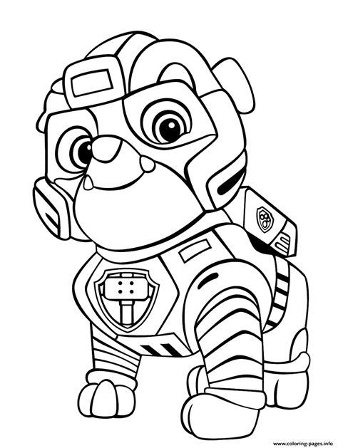 strong rubble mighty pups coloring pages printable