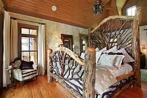 Amazing rustic bedroom interior design ideas with log wood for Interior design ideas rustic look