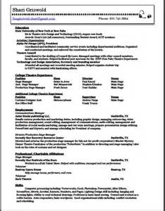 production stage manager resume shari griswold 187 resume