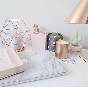 rose gold office supplies / marble office decor / desk