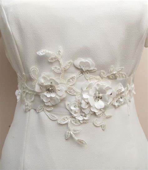 bridal ivory sash belt beaded flower 3d applique wedding