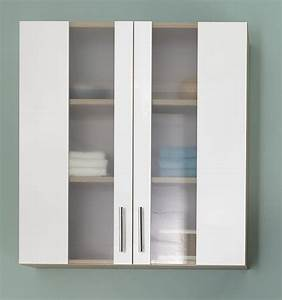 meuble haut de salle de bain 2 portes chene blanc cathy With hauteur meuble haut salle de bain