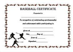 Baseball Achievement Certificate Baseball Success Baseball Certificate Of Participation Baseball Award