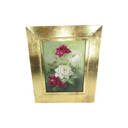 Hand Plaque Antique Painted Roses Framed Signed
