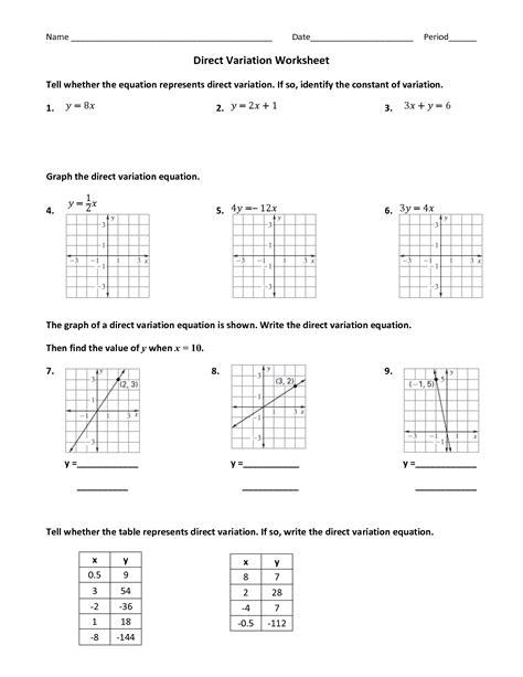 14 best images of direct variation worksheets printable