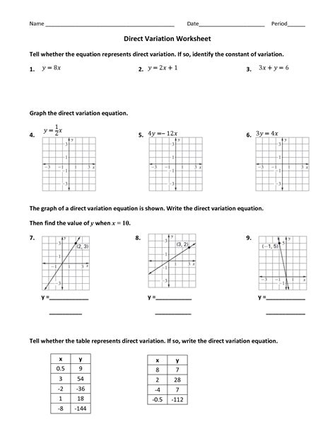 14 Best Images Of Direct Variation Worksheets Printable  Direct Variation Tables Worksheet