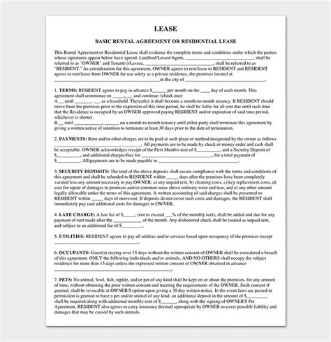 private lease agreement  samples examples