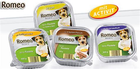 romeo hundevollnahrung schale von aldi sued