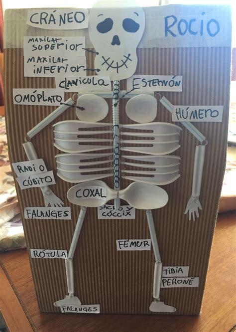 esqueleto hecho con material reciclado tareas