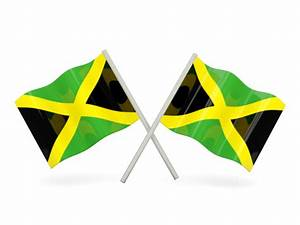 Two wavy flags. Illustration of flag of Jamaica