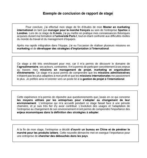 rapport de stage en cuisine exemple conclusion d 39 un rapport de stage rédaction et exemples